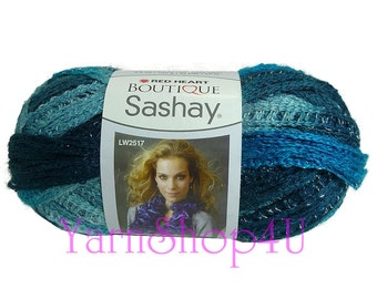 JIVE Boutique Sashay Yarn, Red Heart Sashay Ruffle Scarf Yarn, Blue Variegated, Blue multi color Fluffy yarn, Blue Fluffy scarf Novelty yarn