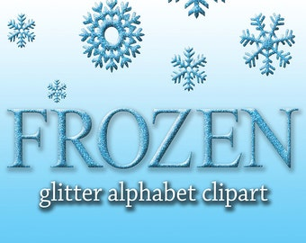 Frozen Alphabet Clipart, Printable Frozen Glitter Letters + Numbers + Punctuation + Snowflake clipart, Invitations