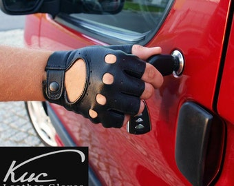 Black fingerless men's car driving gloves- natural nappa leather - lambskin