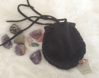 Small Black Leather Pouch, Drawstring Deer Hide Medicine Bag, Handmade Little Leather Crystals Bag,Canadian Made