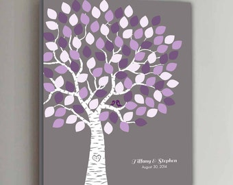 100 Guest CANVAS Wedding Guest Book Gray Wedding Tree Wedding Guestbook Canvas Alternative Guestbook Canvas Wedding Guestbook - Gray+Purple