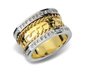18k gold diamond spiral jewish wedding ring - Jewish Wedding Ring