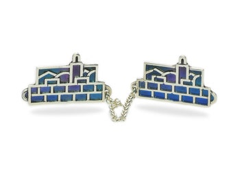Midnight Jerusalem Sterling Silver Tallit Clips