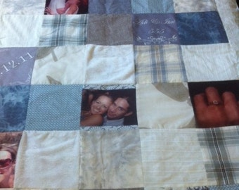 Single/TV  Modern Patchwork Photo Quilt  - Blue & Grey Colors