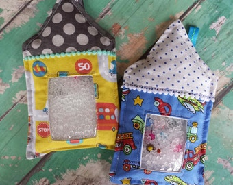 ON SALE: Boy Fairy House Mini I spy Bags Yellow Ractrack, Vintage Cars, Green Monkeys, Bunny Cars Planes, Educational Toy, Hide and Seek Bag