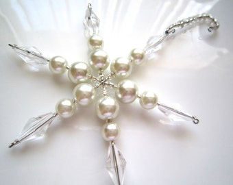Pearl and Crystal Clear Beaded Christmas Snowflake Ornament on a beaded hanger