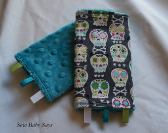 Baby Carrier Teething Pads-Reversible Strap Cover- Orchid Bonehead on Gray/Teal Minky Drool Pads
