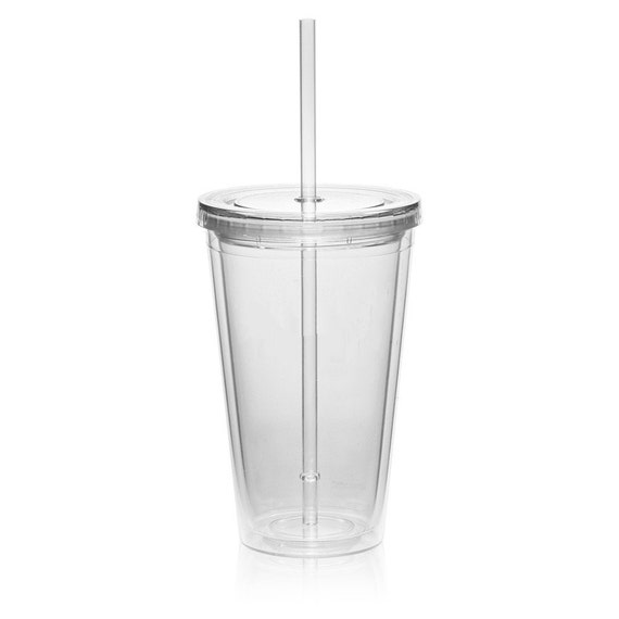 16 Oz Clear Double Wall Acrylic Tumblers With Lid By