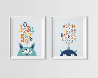 Blue Monster Wall Art Set, Monsters ABC and Numbers set, Instant Download, Boys Wall Art, Monster Wall Art, downloadable file