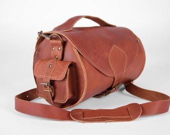 Handmade Leather Barrel Bag Caramel color