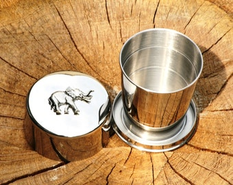 Elephant Collapsable Folding Metal Stirrup Shot Cup Gift