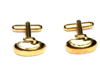 Curling Stone Gold Plated Cufflinks UK Handmade Gift