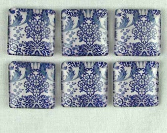 Set of Six Magnets Blue Willow Stafforshire Style Pattern