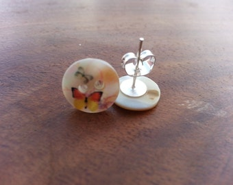 pearl stud earings with flowers and butterflys