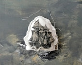 SHIP white-gray . Hand Made decoration. Embroidered cotton. Home decoration. Wall Decor. Door Decor. gift. ornament. housewarming.