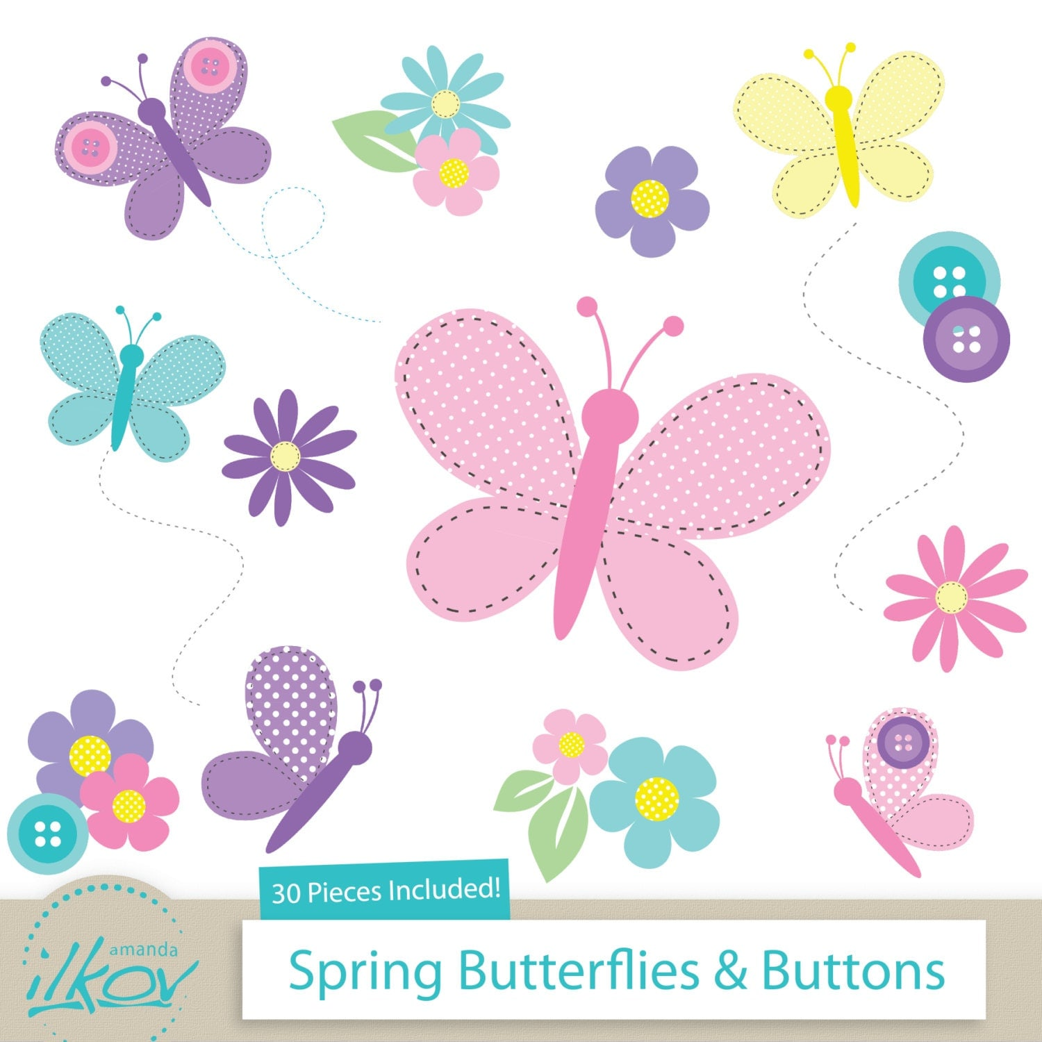 Spring Butterflies Amp Buttons Clipart For Digital Scrapbooking