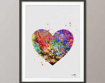 Heart  Watercolor Print Archival Fine Art Print Children's Wall Art  Home Decor Wall Hanging [NO 186]