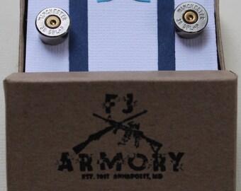 38 Special or 38 Super Bullet Cufflinks Silver (Nickel Plated)