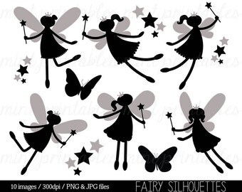 Fairy Silhouette Clipart, Fairy Clip Art, Digital Clipart Fairies, Fairy Princess, Star, Crown - Commercial & Personal - BUY 2 GET 1 FREE!