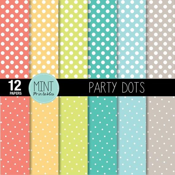 Polka Dots Digital Paper Bright Colored Polka Dot