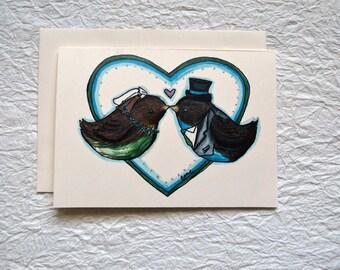 Kissing Birds Wedding Card