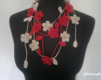 Crochet Necklace,Crochet Neck Accessory, Flower Necklace, Ivory & Red, 100% Cotton.