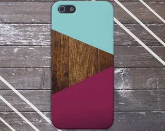 Teal Dark Wood Maroon Geometric Case,  iPhone 7, iPhone 7 Plus, Protective iPhone Case, Galaxy s8, Samsung Galaxy Case Note 5, CASE ESCAPE