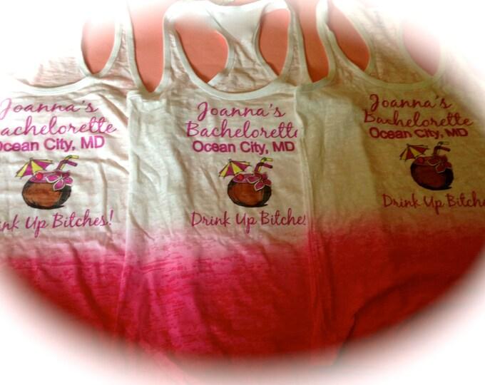 Custom Bachelorette Tank Tops . Ladies burnout tanks . Bachelorette party Shirts . Bridesmaid tank tops . Maid Of honor , matron, bride