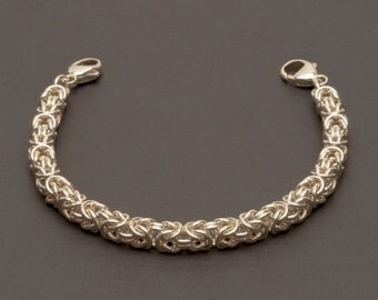 925 Sterling Silver Medical Alert Bracelet, Classic Byzantine chainmaille, Interchangeable Medical Bracelet (MB1)