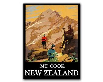 Travel Poster New Zealand Retro Art Mountain Climbing Decor Print (H146)