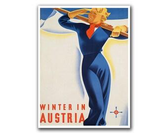 Ski Decor Travel Poster Skiing Art Retro Print (H187)