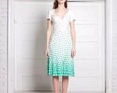 creem white dress with light green pea-coal