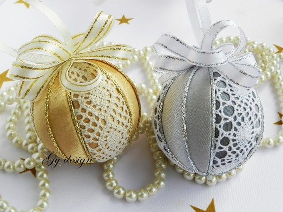 Items similar to Lace Christmas ornament silver ornaments ...