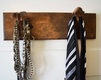 Wood hanger - two hooks