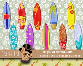 Digital Clip Art Surfboards and Tropical Digital Paper for Scrap-booking and Paper Craft