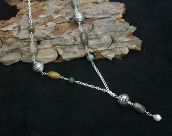 Ocean jasper and freshwater pearl necklace