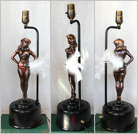 Sally Rand Table Lamp Feather Fan Dancer By Midcenturymisfits