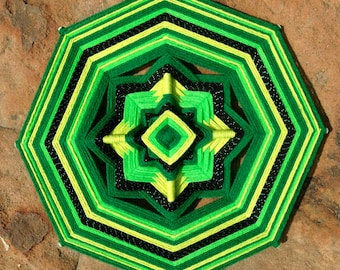 "yarn mandala, 'Green', 12"" diameter, 8-sided, home decor, wall hanging"