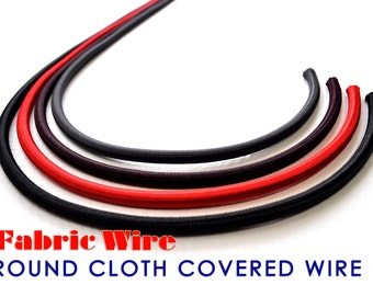100 Ft. Cloth Covered Wire - Round SVT Lamp Cord, Vintage Style Fabric Wire