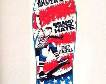 Silk-screened poster / 2 colors handprint / U.S. BOMBS  / Punkrock / Skateboard
