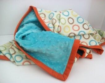 Modern baby blanket - Baby boy blanket - Turquoise minky baby blanket - Mulitcolored baby boy blanket