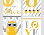 Yellow Owl Chevron { LOVE } Nursery Personailzed Art Set of Four Printables - Kids Wall Art, Playroom Art - Four 8x10 Printables