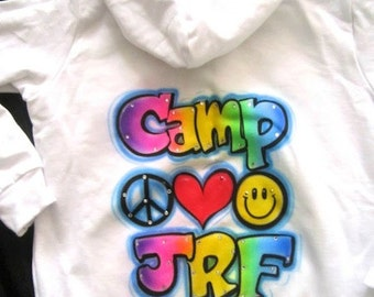 airbrushed personalized peace love smile camp airbrush hoodie