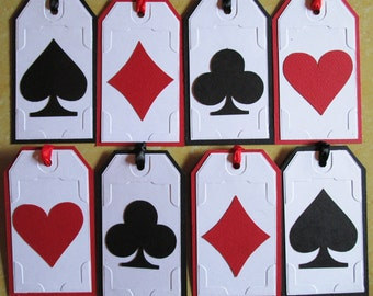 Casino Gift Tags, Personalized Vegas Gift Tags, Casino Themed Party Tags, Poker Gift Tags, Favor Tags, Set of 8