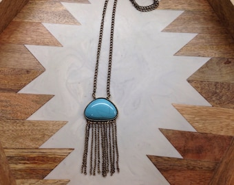 Turquoise stone and bronze chain necklace