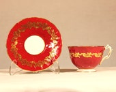 Vintage Aynsley Red and Gold Tea Cup and Saucer Fine Bone China #1643