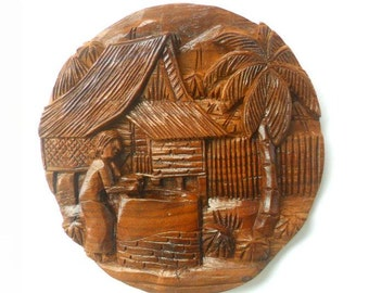 """Handmade Natural Round Teak Wood Carving Thai Village Carved Culture  Wall Hanging  Art Home Decor 8""""X0.75"""""""