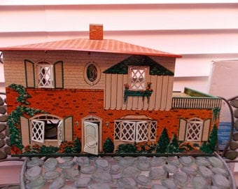 1940s Era T Cohn Metal Litho Dollhouse with Lattice Shutters & Front Door 2 Story with Terrace