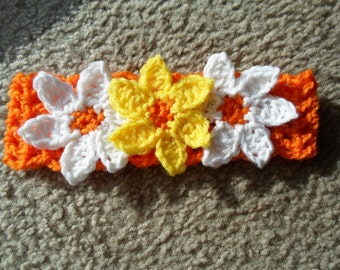 Orange w/Yellow & White Flower Headband.  Available in Sizes from Newborn-Toddler.