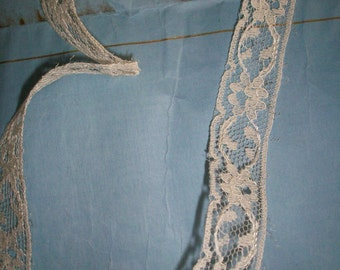 Vintage lace by the yard SILK lace french origin 1940 to 1950